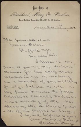 Letter from Horatio Collins King to Grover Cleveland