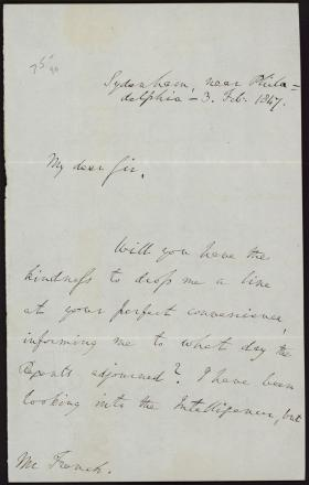 Letter from Richard Rush to Benjamin French