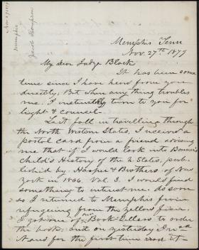 Letter from Jacob Thompson to Jeremiah Black