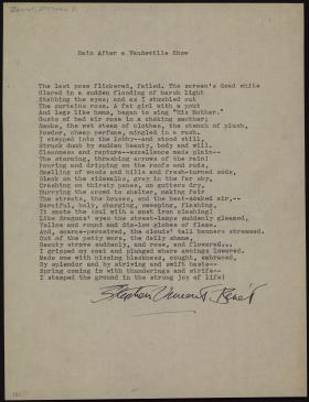 """""""Rain After a Vaudeville Show,"""" by Stephen Vincent Benet"""