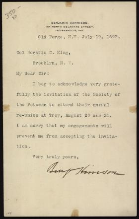 Letter from Benjamin Harrison to Horatio Collins King