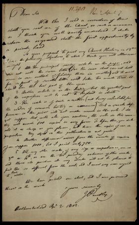Letter from Joseph Priestley to Matthew Carey