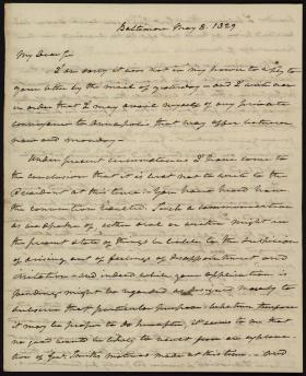 Letter from Roger B. Taney to Unknown Recipient