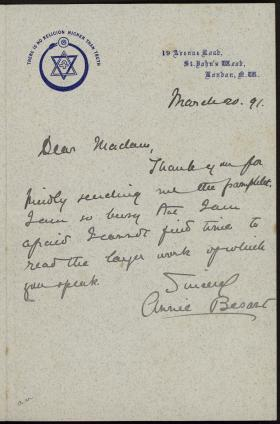 Letter from Annie Besant to Mrs. Mawsou