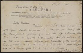 Letter from Annie Besant to Clara Bayliss