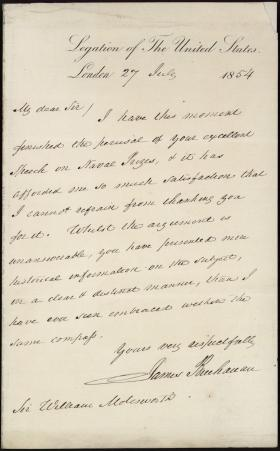Letter from James Buchanan to Sir William Molesworth
