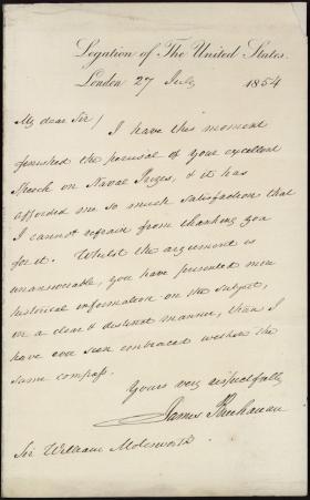 Letter from James Buchanan to Sir William Molesworth