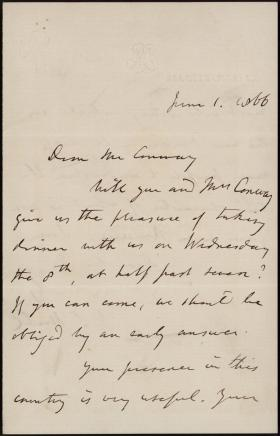 Letter from John Stuart Mill to Moncure Conway