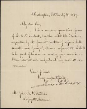 Letter from James Buchanan to John Wilstach