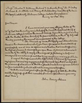 Letter from John Quincy Adams to the Union Philosophical Society