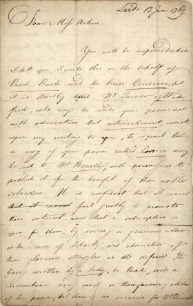 Letter from Joseph Priestley to Anna Aikin