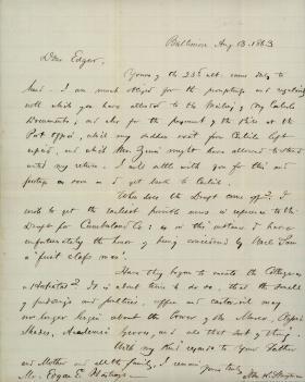 Letter from John K. Stayman to Edgar E. Hastings