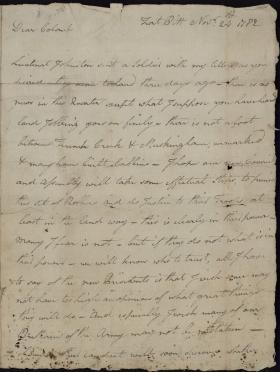 Letter from William Irvine to Richard Butler