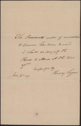 Letter from Henry Logan to Martin Van Buren (Draft)