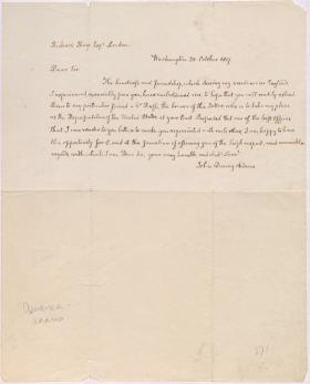 Letter from John Quincy Adams to Richard Sharp