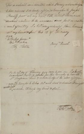 "Transfer of ""Annexed Deed Poll"" from Benjamin Rush to Joseph Priestley, Jr."