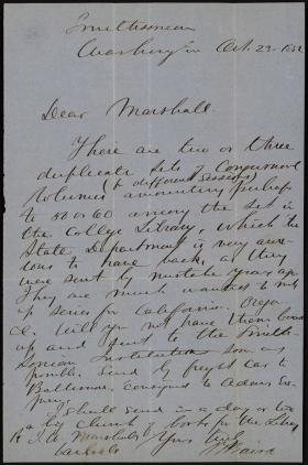 Letter from Spencer Baird to James Marshall