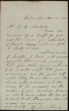 Letter from W. Armstrong to James Marshall