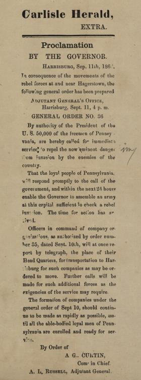 """Carlisle Herald, """"Proclamation by the Governor"""""""