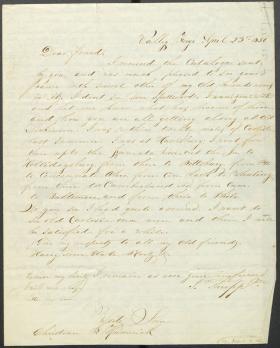 Letter from John Thropp Jr. to Christian Humrich