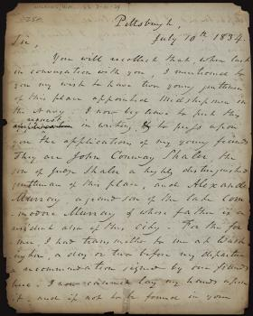 Letter from William Wilkins to Mahlon Dickerson