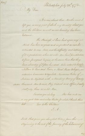 Letter from John Adams to Abigail Adams (Copy)