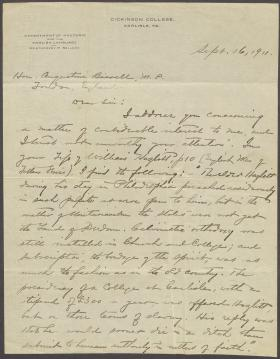 Letter from Montgomery Sellers to Augustine Birrell