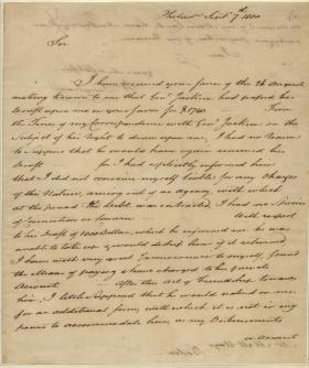 Letter from William Bingham to M. Hays