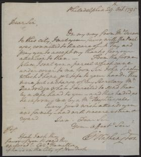 Letter from George Washington to Robert Livingston
