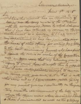 Letter from Zachary Taylor to Daniel Parker
