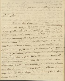 Letter from Roger B. Taney to Samuel Smith