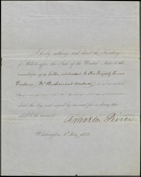 Letter from Franklin Pierce to William Marcy