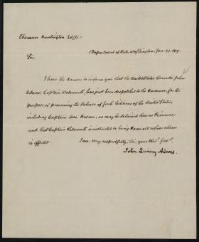 Letter from John Quincy Adams to Ebenezer Huntington