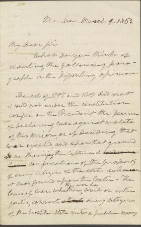 Letter from Roger B. Taney to Samuel Nelson