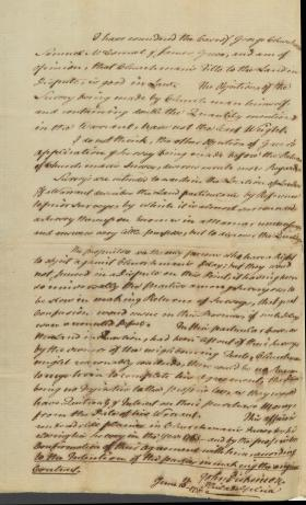 Legal Opinion of John Dickinson on George Churchman case