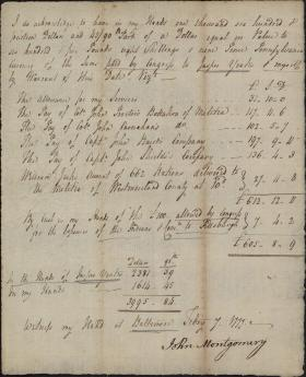 Receipt for Militia Account between Jasper Yates and the Continental Congress