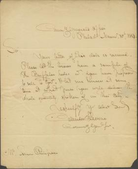 Letter from Callender Irvine to Simon Philipson