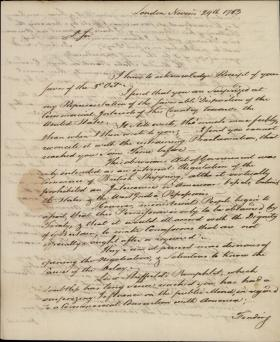 Letter from William Bingham to Thomas Fitzsimons