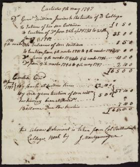 Bill from Dickinson College to William Irvine
