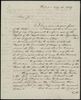 Letter from William Bingham to William Irvine