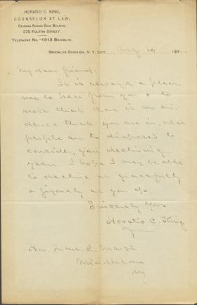 Letter from Horatio Collins King to Luther Marsh