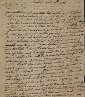 Letter from William Irvine to Callender Irvine