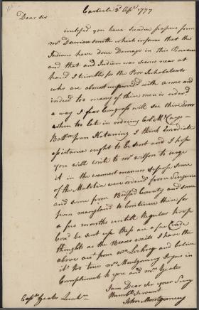Letter from John Montgomery to Jasper Yeates