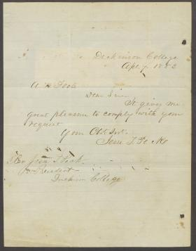 Letter from Jesse Peck to A. W. Foote