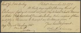 Bill of Exchange from John Dickinson to John Osgood