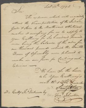 Letter from Samuel Atlee and Francis Johnston to John Dickinson