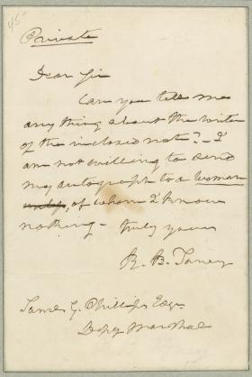 Letter from Roger B. Taney to Samuel Phillips