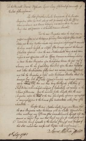 Letter from James Wilson to Francis Hopkinson