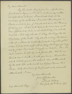 Letter from James Wilson to Hannah Grey