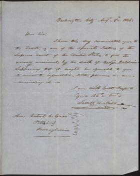 Letter from James Polk to Robert Grier